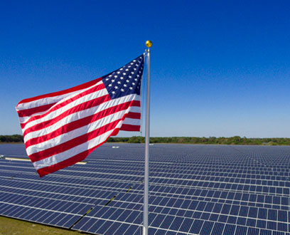 NextEra Energy Solar Plant with US Flag